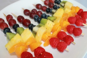 Arranging Fruit on skewers