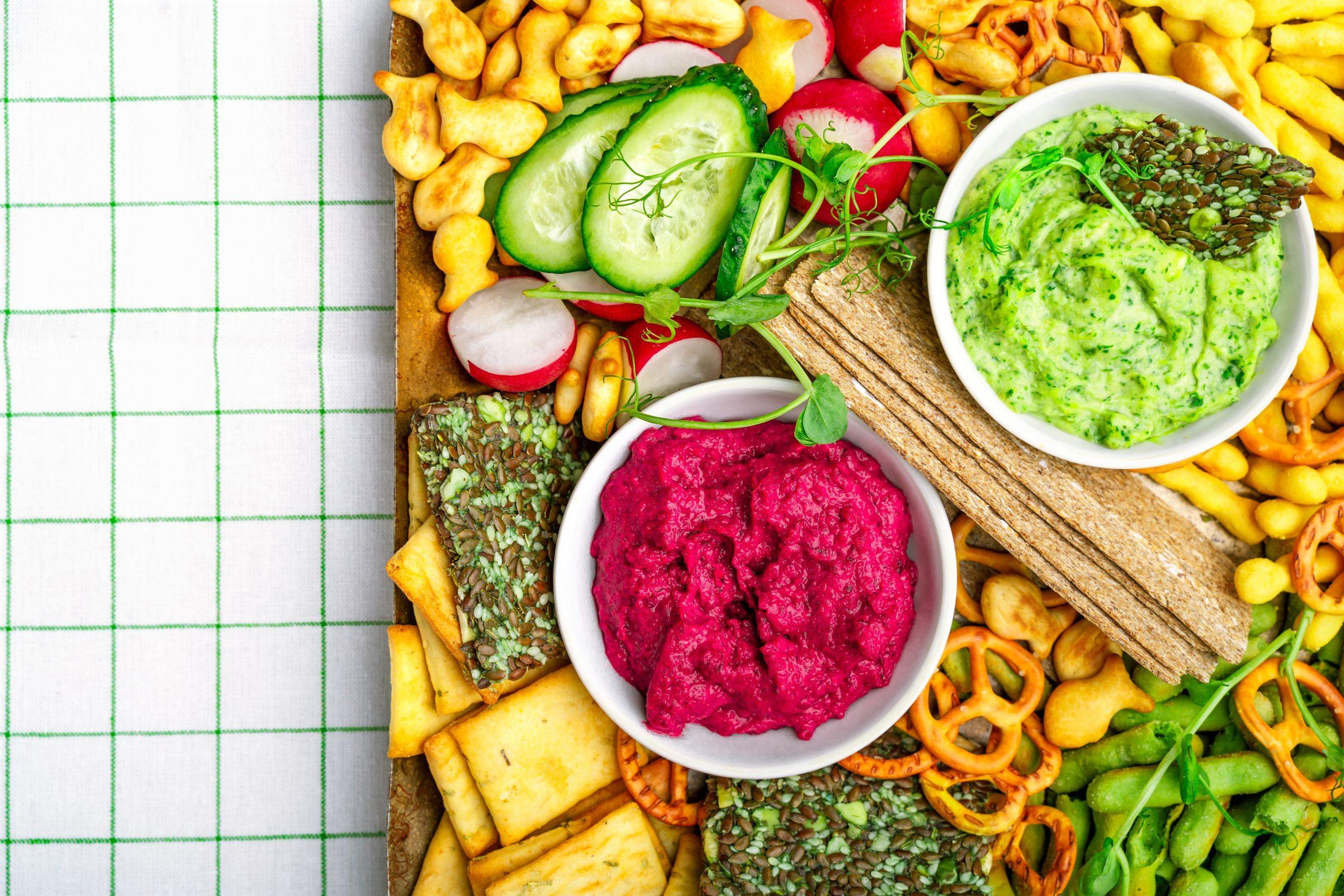 Vegan food on a kosher charcutier board.