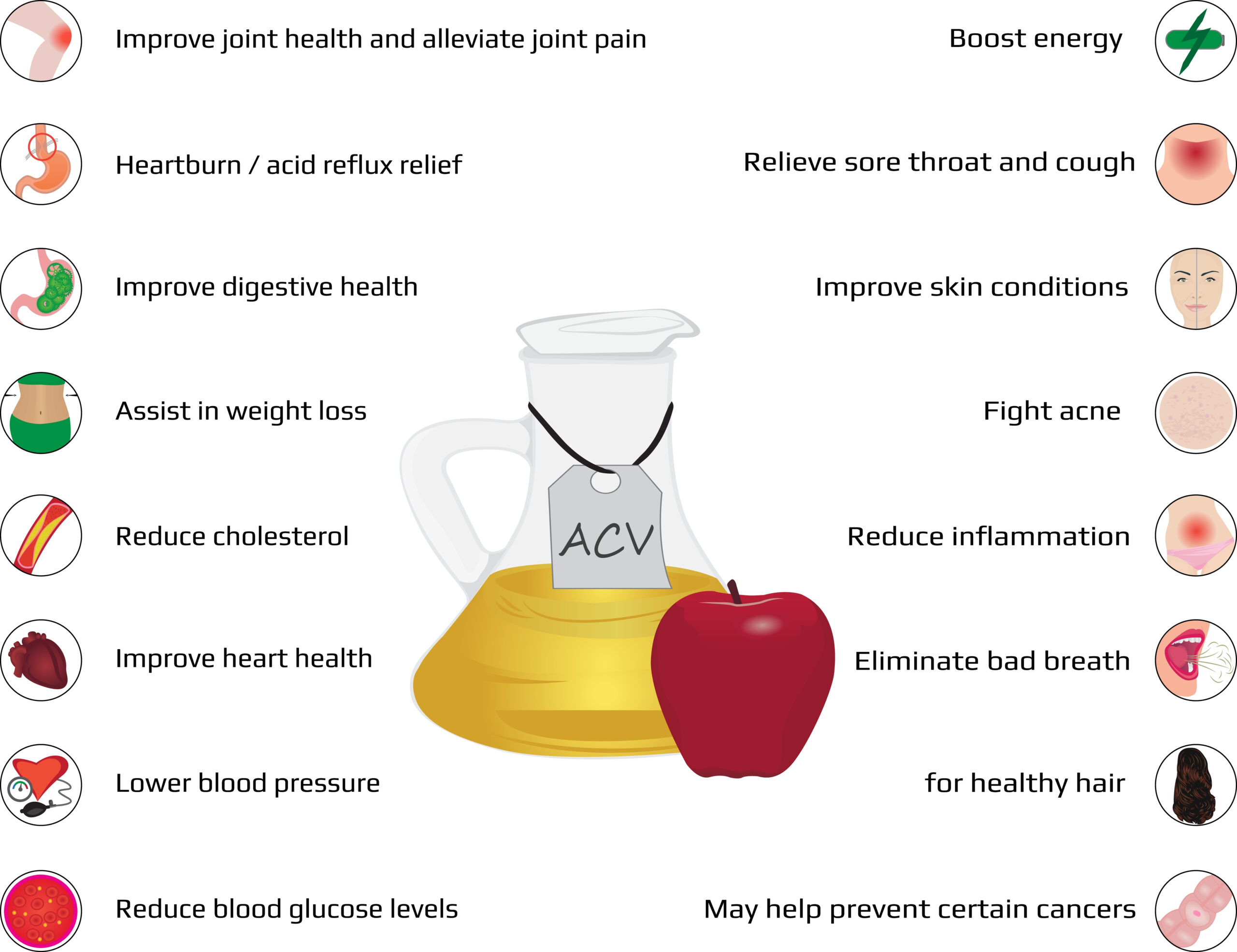 There are many potential health benefits from apple cider vinegar.