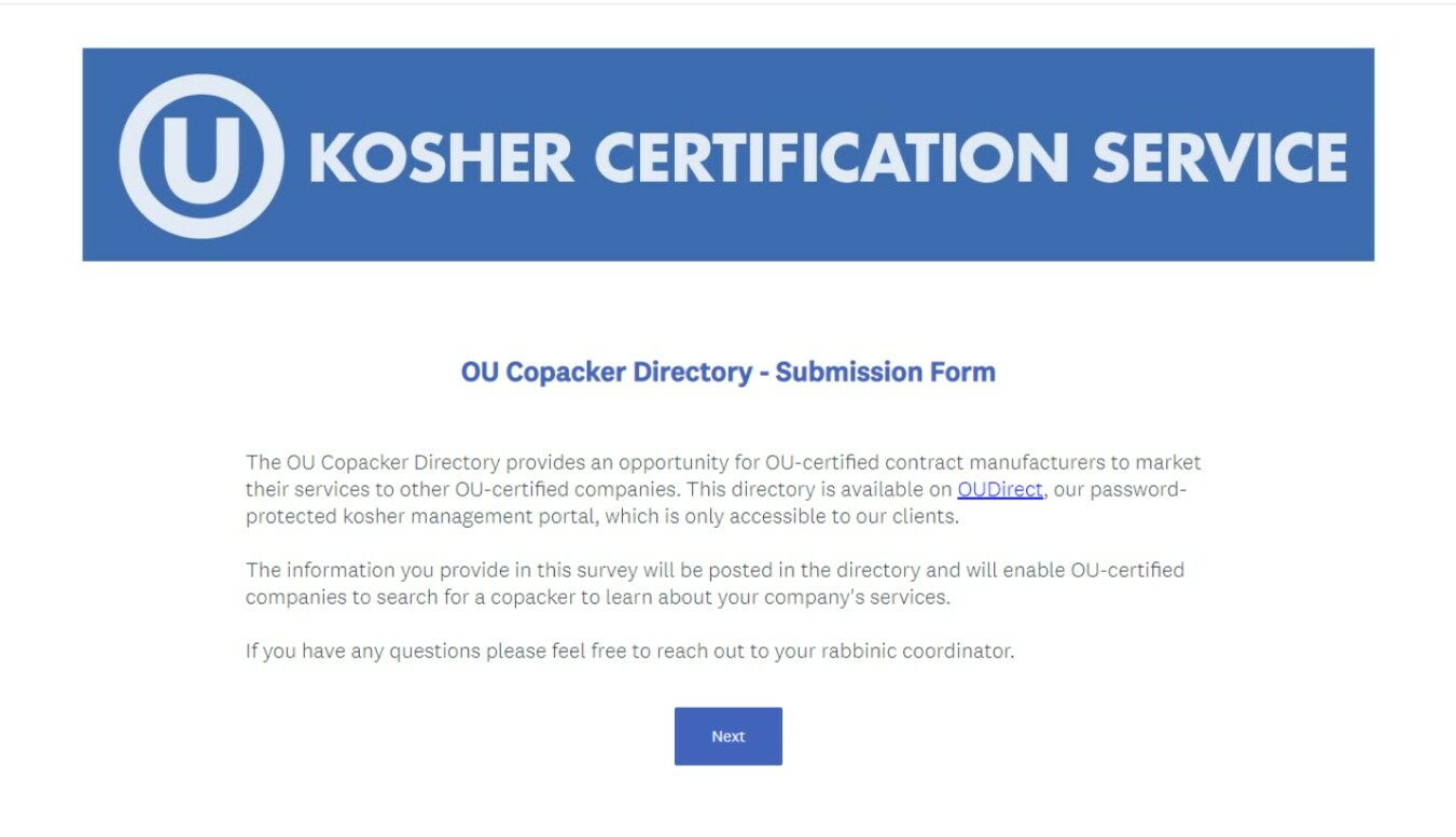 OU Kosher Copacker Submission Form