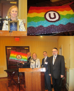 OU Kosher Behind the Union Symbol - OU Kosher Behind the Union Symbol - Left: Pat Collins - Right: Jelly Belly Candies Platter with OU logo -  Jelly-Belly-honored-at-RFR-conference