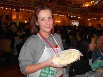 Katherine Khozheva, 29, baked her first challah at the world's largest challah bake-off. Photo by Bayla Sheva Brenner.