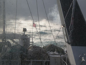 FOG AND WAVES AS SEEN FROM ABOARD THE OCEAN ROVER. EXTRA NETS IN THE FOREGROUND.